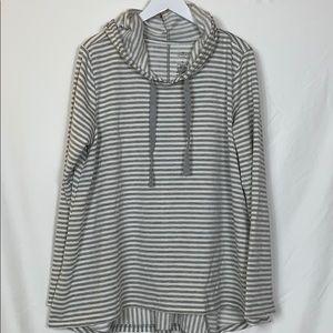 St.John's Bay grey/white striped hooded top XL